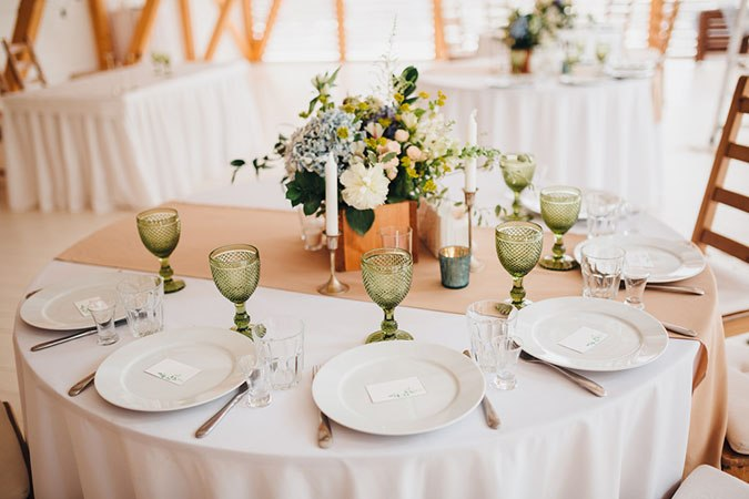 Decorated table at a wedding reception