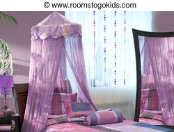 Rooms To Go Kids Bed Canopy & Tips on Decorating Bed Canopies in Childrens Rooms