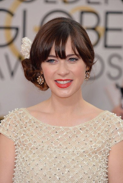 Photo credit: AP Images: Zooey Deschanel wearing vintage Neil Lane earrings at the Golden Globes