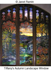 Tiffany Autumn Landscape Stained Glass
